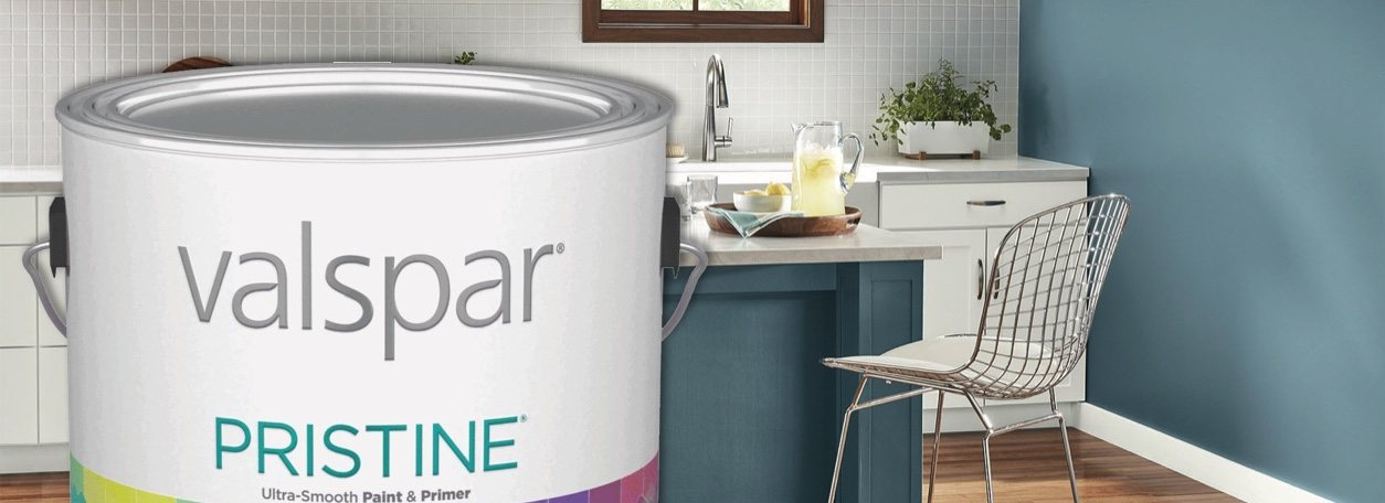 Valspar Pristine paint can with blue-painted room in background