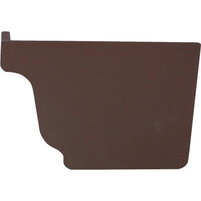 Repla K 5 In. Vinyl Brown Right Gutter End Cap