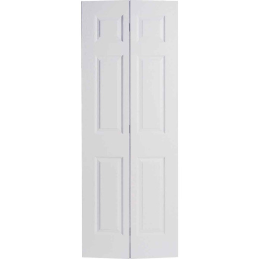 Masonite 72 In. W x 79 In. H Textured Hardboard Primed White 6-Panel 4-Door Bifold Door