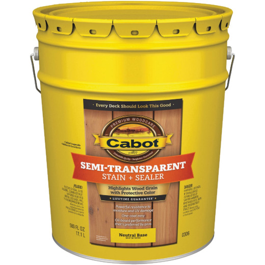 Cabot Semi-Transparent Deck & Siding Exterior Stain, Neutral Base, 5 Gal.