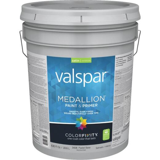 Valspar Medallion 100% Acrylic Paint & Primer Satin Interior Wall Paint, Pastel Base, 5 Gal.