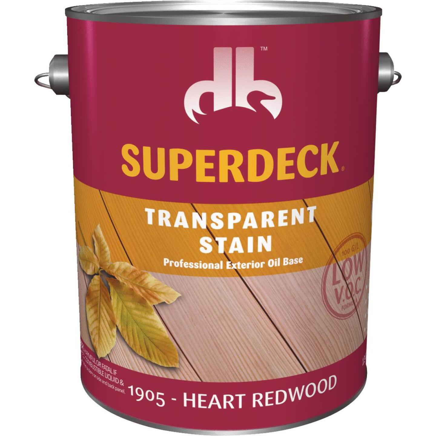 Duckback SUPERDECK VOC Transparent Exterior Stain, Heart Redwood, 1 Gal. Image 1