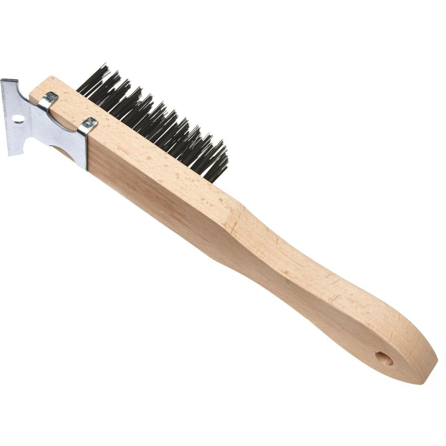 Best Look Straight Wood Handle Wire Brush with Scraper Image 1