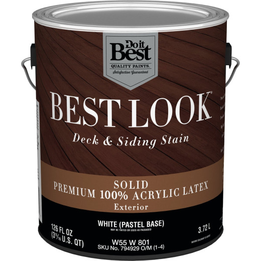 Best Look Solid Deck & Siding Exterior Stain, White Pastel Base, 1 Gal.